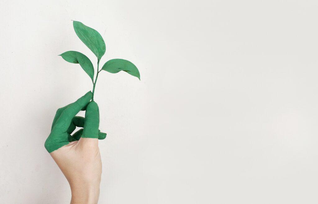 En grönmålad hand som håller i ett grönt löv